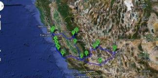 Map California Road trip