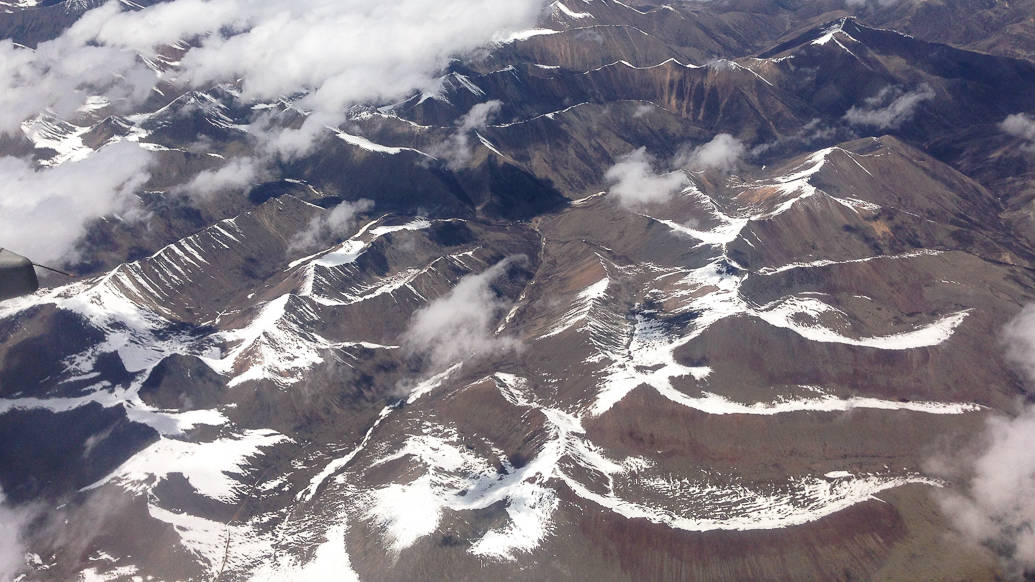 Chegada em Lhasa a partir do avião