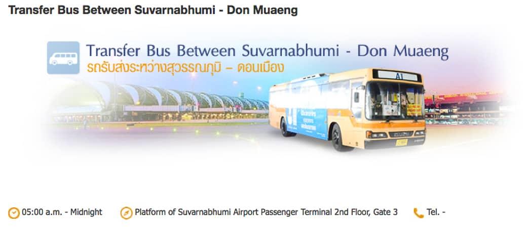 transfer gratuito entre os aeroportos de Bangkok