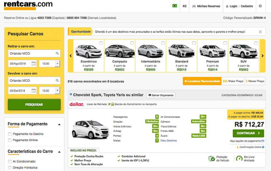 Como alugar carro barato com comparador online