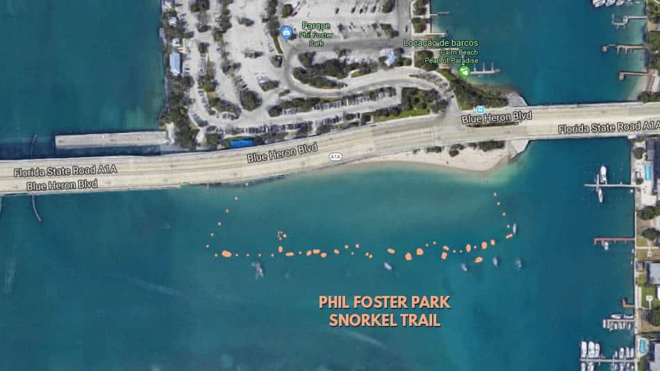 Visão aérea da Trilha de Snorkel do Phil Foster Park em Palm Beaches