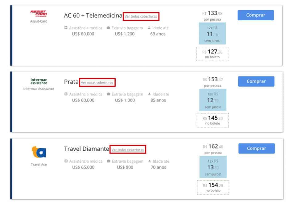 Comparador de planos de seguro viagem