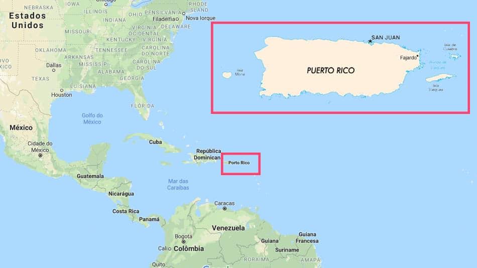 Mapa de Porto Rico, no Caribe
