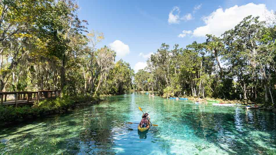 Caiaque nas Three Sisters Springs, em Crystal River