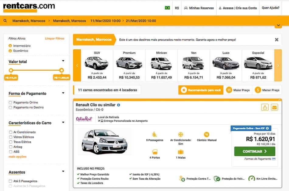 Comparador de preços de aluguel de carro no Marrocos