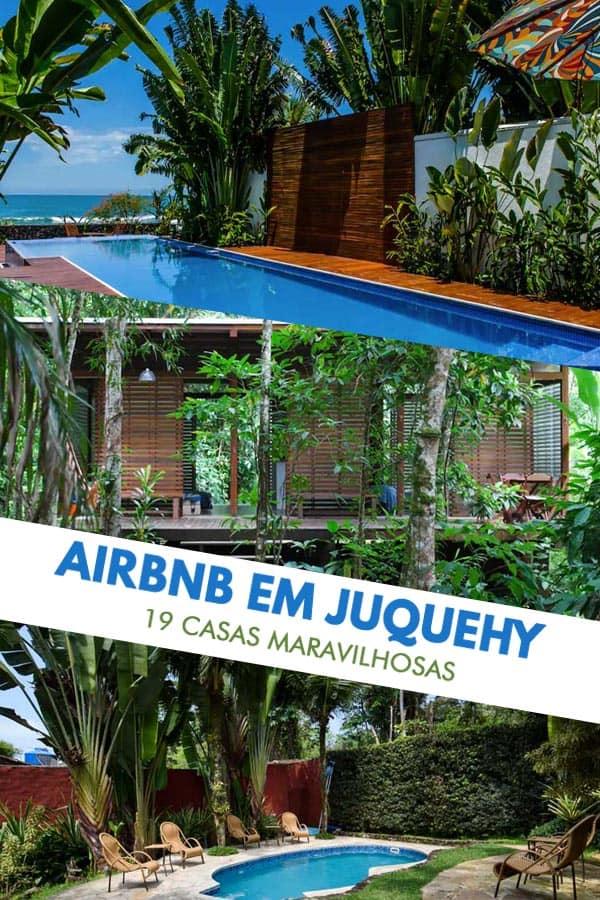 Lista com 19 casas e apartamentos disponíveis para aluguel de temporada na praia, no site do Airbnb em Juquehy, litoral norte de São Paulo.