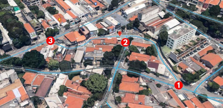 Mapa com a localização do Beco do Batman em SP
