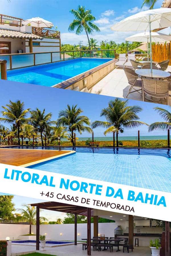 Guia completo praia a praia, com mais de 43 bangalôs, apartamentos e casas para alugar através do site Airbnb no litoral norte da Bahia.