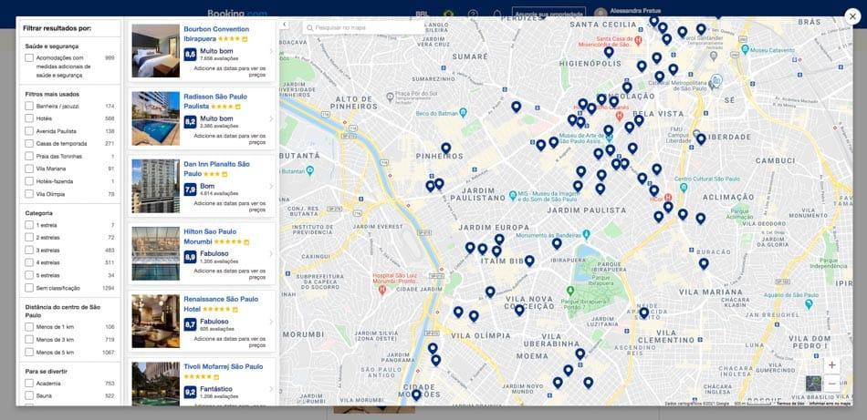 Ferramenta de mapa no Booking.com