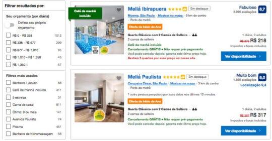 Use os filtros do Booking.com para reservar