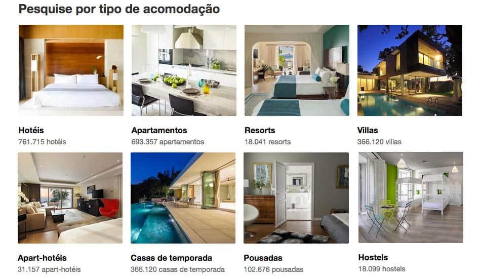 Tipos de hospedagem no Booking.com