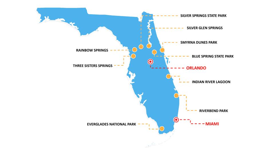 Mapa de 9 parques naturais da Flórida