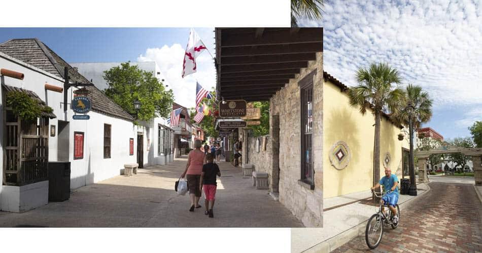 Rua do centro histórico de Saint Augustine, na Flórida