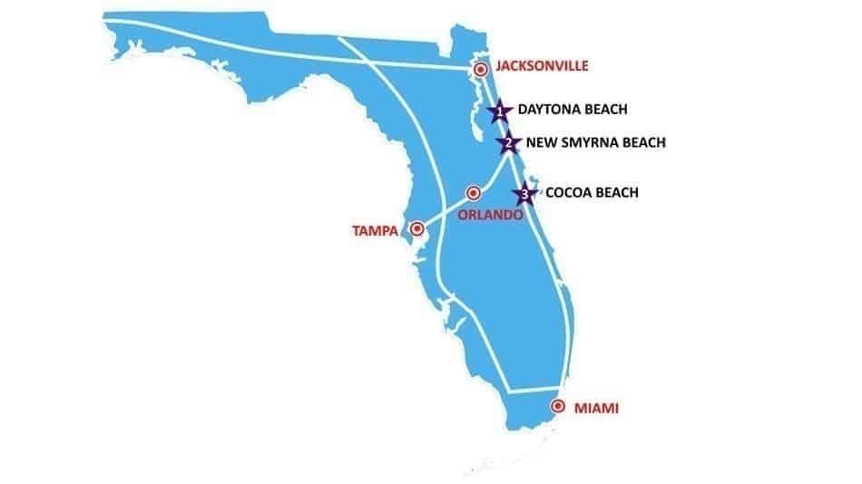 Roteiro de cidades de praia perto de Orlando