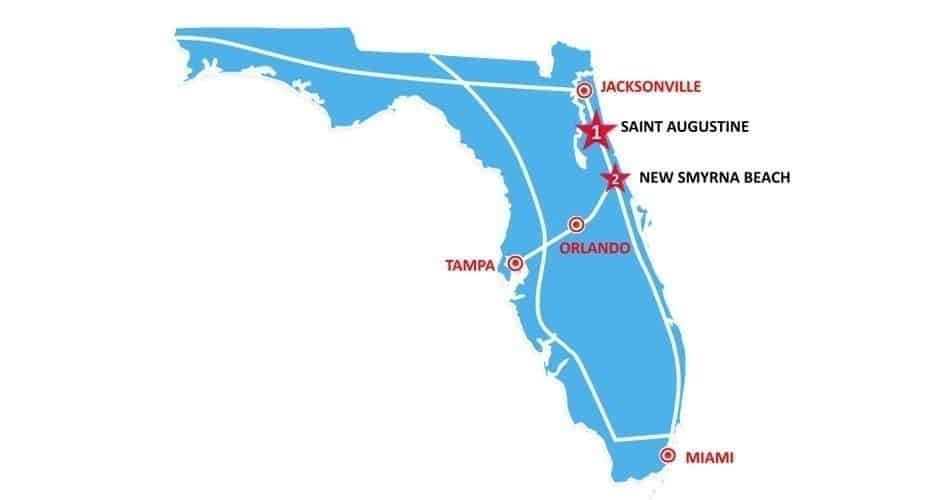 Mapa do roteiro histórico perto de Orlando