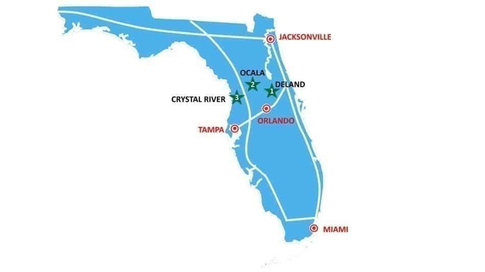 Mapa do roteiro de natureza perto de Orlando